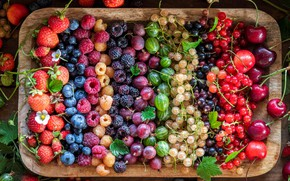 Picture cherry, berries, raspberry, blueberries, strawberry, a lot, currants, gooseberry, dish