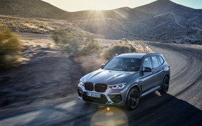 Picture machine, the sun, light, movement, hills, lights, BMW, crossover, Competition, X3M, F97