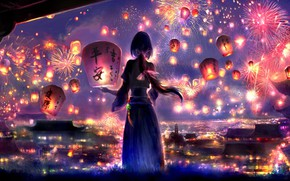 Picture girl, night, the city, lanterns