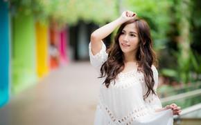 Picture girl, hair, dress, Asian, bokeh