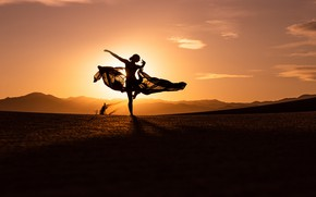 Picture girl, sunset, mountains, mood, dance, silhouette