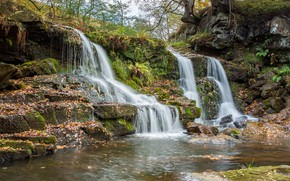 Picture stones, England, waterfall, Goathland