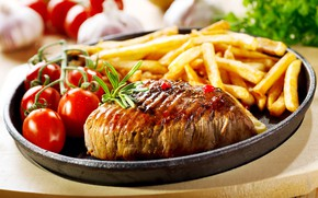 Picture macro, meat, tomatoes, potatoes