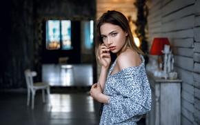 Picture look, girl, face, photo, room, model, blouse, beautiful, shoulder, Daria, Andrey Metelkov