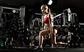 Picture saloon, exercise, sports, sexy blonde, workout, fitness, sexy body, pantie, crossfit, sportswear, kettlebell, leg exercises, …