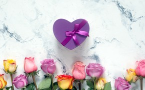 Picture background, gift, heart, roses, bouquet, beautiful