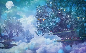 Picture forest, clouds, fantasy, houses, photoart