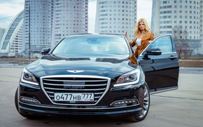 Picture auto, look, girl, the city, style, street, beauty, Hyundai, photoshoot, Genesis, Nastya, Anastasiya Zadorozhnaya