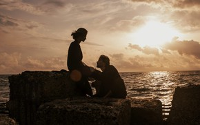 Picture sea, girl, male, lovers, Marta Syrka