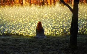 Picture girl, light, river, shore, red, bokeh