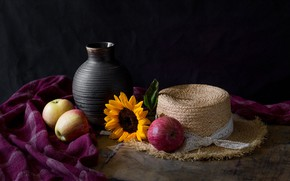 Picture flower, the dark background, table, apples, sunflower, hat, fabric, still life, items, straw, ceramics, pot