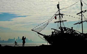 Wallpaper ship, England, silhouette, port, Wallasey