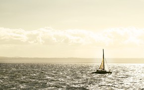 Picture sea, lights, yacht, sails