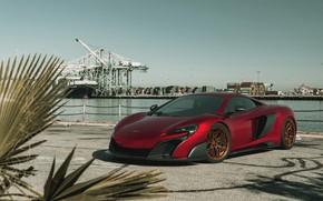 Picture McLaren, Red, Port, Machine, The ship, Render, Supercar, Lighting, Rendering, Sports car, Red, 675LT, McLaren …
