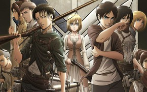Picture guys, characters, Shingeki No Kyojin, Attack of the titans