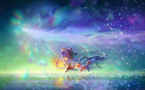 Picture light bulb, night, anime, art, Fox, (王晖) Melissa Hui Wang, OneShot   Niko + Rue