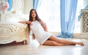 Picture girl, pose, feet, dress, long hair, on the floor, Alex Lozgachev