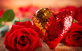 Picture romance, heart, roses, bouquet, red, Valentine's day