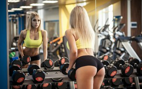 Picture girl, sexy, blond, beautiful girl, butt, workout, fitness, gym, booty, dumbells, fit girl