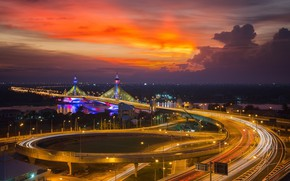 Picture road, the sky, bridge, the city, lights, river, building, the evening, morning, Thailand, Thailand, Bangkok