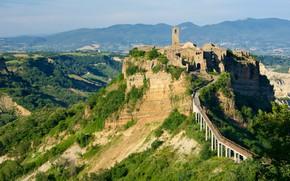 Picture road, Italy, Lazio, medieval architecture, гора город, Bagnoregio