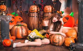 Wallpaper girl, pumpkin, Halloween, Asian