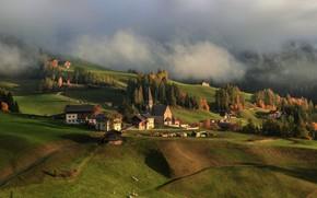 Picture clouds, landscape, nature, fog, home, village, pasture, Italy, meadows, Santa Maddalena, Santa Maddalena, Алексей Милокост