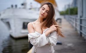 Picture girl, pose, hair, hand, Maxim Romanov, Maks Romanov