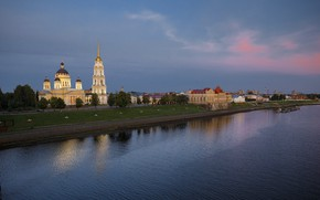 Picture landscape, the city, river, building, home, the evening, Volga, Rybinsk, Спасо-Преображенский собор