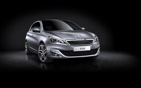 Picture black background, Peugeot 308, hatchback