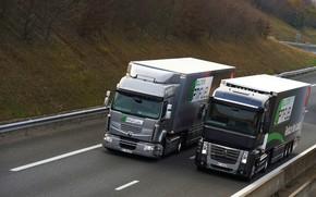 Picture trucks, grey, black, Renault, Magnum, 4x2, tractors, Premium Route, Renault Trucks
