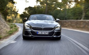Picture road, grey, movement, BMW, Roadster, front view, BMW Z4, M40i, Z4, 2019, G29