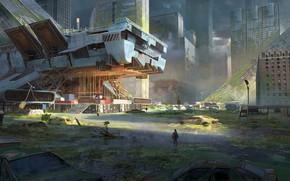 Picture the city, destruction, ruins, traveler, desolation