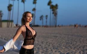 Picture sand, beach, look, girl, smile, hair, lipstick, lips, Sergei Goncharov, Agatha Levi