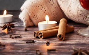 Picture candles, wool, cinnamon, carnation, spices, star anise