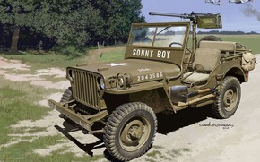 Picture USA, Willys, Willys MB, Browning M2, car for military purposes, army vehicle