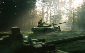 Picture Trees, Forest, Morning, Dawn, Bears, Art, Tank, Morning in a pine forest, T-72, The rays …