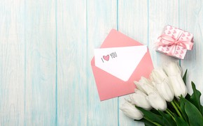 Picture love, gift, bouquet, love, romantic, tulips, valentine's day, letter, Valentine's Day, gift box, white tulips