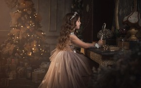Picture photo, tree, dress, mirror, girl, New year, Alina Moore