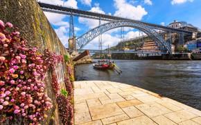 Wallpaper wall, bridge, flowers