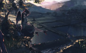 Picture path, traveler, Aya Shameimaru, rice fields, black wings, Touhou Project, Project East, summer evening, geta, …