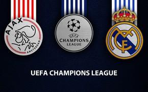 Picture wallpaper, sport, logo, football, Real Madrid, UEFA Champions League, Ajax, Ajax vs Real Madrid