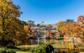 Picture Spain, Madrid, winter garden, Park Buen Retiro, Crystal Palace, Crystal palace