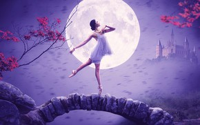 Picture girl, pose, castle, the moon, ballerina