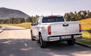 Picture road, white, Mercedes-Benz, back, pickup, 2018, X-Class