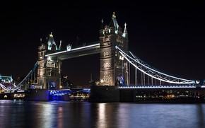 Picture night, bridge, lights, river, England, London, Thames, Tower bridge, Tower Bridge