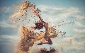 Picture sand, girl, jump, Ivan Slavov