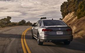 Picture turn, Volkswagen, sedan, Passat, 2020, 2019, dark gray, US Version