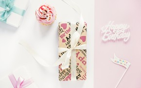 Picture holiday, gifts, box, pink, present, flag, cupcake, Holiday, bow, cute, cupcake, Birthday