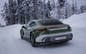 Picture snow, Porsche, green, winter road, 2020, Taycan, Taycan 4S